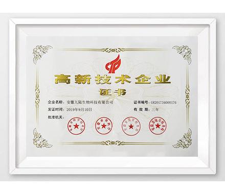 北京九陆荣获高新技术企业证书